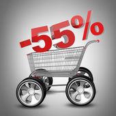 Concepto venta descuento 55 por ciento. carro de compras con coche grande rueda render 3d de alta resolución — Foto de Stock