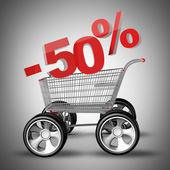 Concepto venta descuento 50%. carro de compras con coche grande rueda render 3d de alta resolución — Foto de Stock