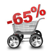Concept SALE discount 65 percent. shopping cart with big car wheel High resolution 3d render — Stock Photo