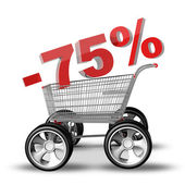 Concept SALE discount 75 percent. shopping cart with big car wheel High resolution 3d render — Stock Photo