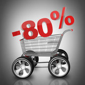 Concept SALE discount 80 percent. shopping cart with big car wheel High resolution 3d render — Stock Photo