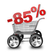 Concept SALE discount 85 percent. shopping cart with big car wheel High resolution 3d render — Stock Photo