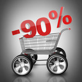 Concept SALE discount 90 percent. shopping cart with big car wheel High resolution 3d render — Stock Photo