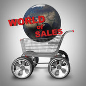 Concept world of SALES. Shopping trolley and earth globe with big car wheel — Stock Photo