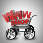 Concept WWW SHOP. shopping cart with big car wheel — Stock Photo