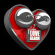 Concept. LOVE alarm Red alarm bell heart shape. — Photo