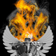 Chromed motorcycle engine with wings in Fire - Stock Photo