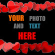 Love frame with red hearts — Stock Photo