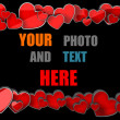 Stock Photo: Love frame with red hearts