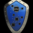 Silver shield with the processor — Stock Photo