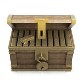 Wooden chest with gold — Stock Photo