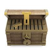 Houten kist met goud — Stockfoto