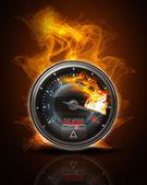 Tachometer on fire — Stock Photo