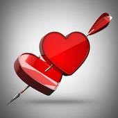 два сердца, пронзили стрелкой — Стоковое фото