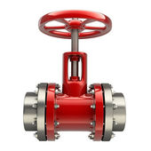 Pipe with a red valve — Foto Stock