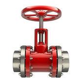 Potrubí s červeným ventilem — Stock fotografie
