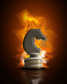 Chess horse in Fire — Stock Photo
