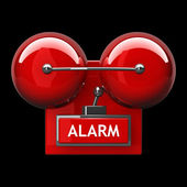 Red fire alarm bell — 图库照片