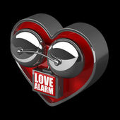 Concept. LOVE alarm Red alarm bell heart shape. — Stock Photo