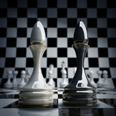 Black vs wihte chess officer — Stock Photo