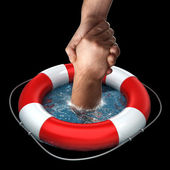 Red life buoy with hands — Stock Photo