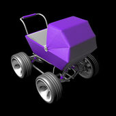Purple Baby super Carriage with big car wheel — Stock Photo