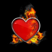 Heart in fire — Stock Photo