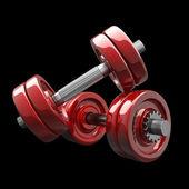 Dumbbells RED. High resolution 3d render — Stock Photo