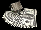 Concept house and dollars — Stock Photo