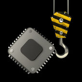 Yellow crane hook lifting Processor unit CPU — Stock Photo
