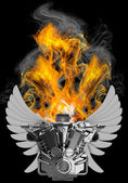 Chromed motorcycle engine with wings in Fire — Stock Photo