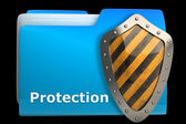 Blue document folder with protection symbol — Stock Photo