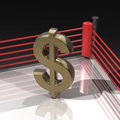US dollar symbol on boxing ring — Stock Photo