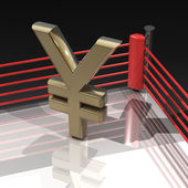 Yen symbol on boxing ring — Stock Photo