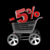 Concept SALE discount 5 percent. shopping cart with big car wheel — Stockfoto