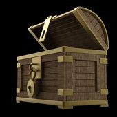 Vintage wooden chest with gold high resolution 3d render — Stok fotoğraf