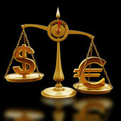 Scale with symbols of currencies Euro vs US dollar — Stock Photo