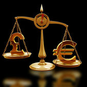 Golden Scale with symbols of currencies Euro vs British pound — Stock Photo