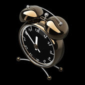 Alarm Golden clock isolated on a black background — Stock Photo