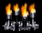 Engine pistons and cog in Fire high resolution 3d illustration — Stock Photo