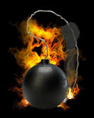 Cannonball bomb in Fire high resolution 3d illustration — Stock Photo