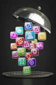 Silver platter or cloche with APPS icons — Stock Photo
