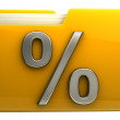 Yellow folder  with percent  symbol — Stock Photo