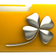 Yellow folder icon with clover — Stock Photo #20756415