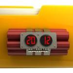 Yellow folder with Explosives alarm clock — Stock Photo #20756539