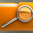 Folder and file search with magnifying glass — Stock Photo