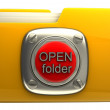 Yellow folder with open button — Stock Photo