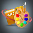 Yellow folder with art  icon — Foto Stock