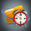 folder icon with alarm clock — Stock Photo