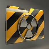 Icona di cartella radiazione segno di allarme — Foto Stock